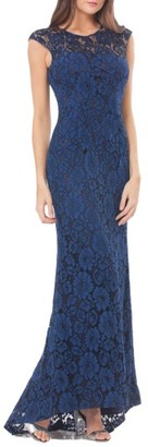 Women's Carmen Marc Valvo Infusion Lace Gown With Train $398 thestylecure.com