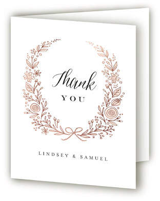 Painted Wreath Foil-Pressed Thank You Cards