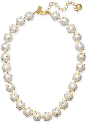 "Kate Spade Gold-Tone Pavé & Imitation Pearl Collar Necklace, 17"" + 3"" extender"