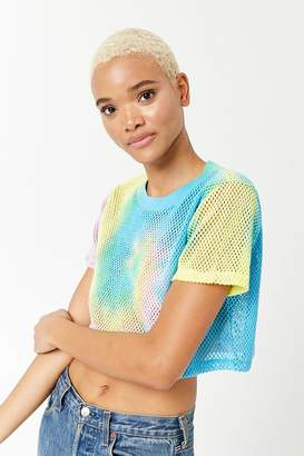 Forever 21 Cropped Tie-Dye Mesh Tee