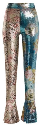 Halpern - High Rise Sequin Embellished Skinny Trousers - Womens - Blue Multi