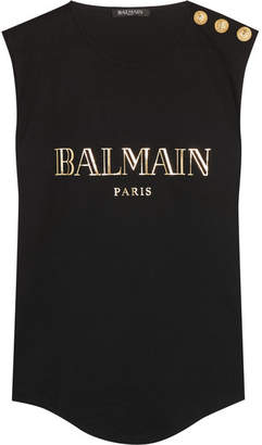Balmain - Button-embellished Printed Cotton-jersey Top - Black $210 thestylecure.com