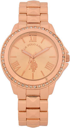 U.S. Polo Assn. USPA Womens Rose Gold-Tone Crystal Bezel Bracelet Watch