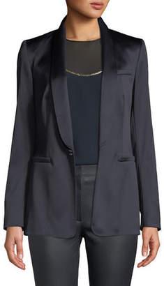Escada Jewel One-Button Shawl-Collar Duchess Satin Jacket