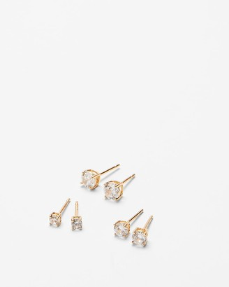Express Set Of Three Cubic Zirconia Post Back Stud Earrings