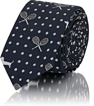 Thom Browne Men's Tennis- & Dog-Pattern Silk Repp Necktie