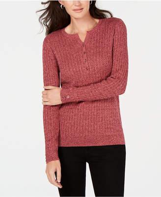 Karen Scott Petite Cotton Ribbed Henley Sweater