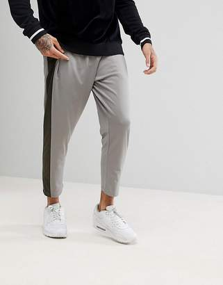 Asos DESIGN Tapered Retro Track Joggers With Side Panel