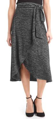 Gap Softspun knit midi wrap skirt