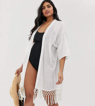 Brave Soul Plus beach cover up with tassel trim