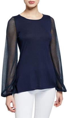 Neiman Marcus Cashmere-Blend Scoop-Neck Sheer Blouson-Sleeve Slim Fit Top