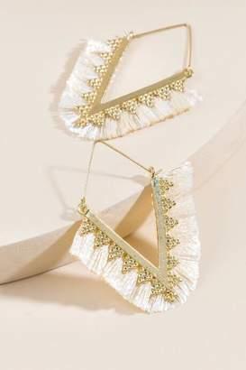 francesca's Avery Triangle Tassel Earrings - Taupe