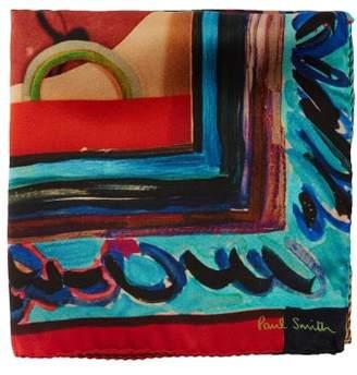 Paul Smith Artistic Cardboard Print Silk Pocket Square - Mens - Multi