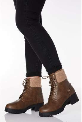 Quiz Wide Fit Brown Faux Leather Lace Up Hiker Boots