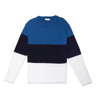 Lacoste Women's Crew Neck Colorblock Cotton, Mohair And Wool Jersey Sweater
