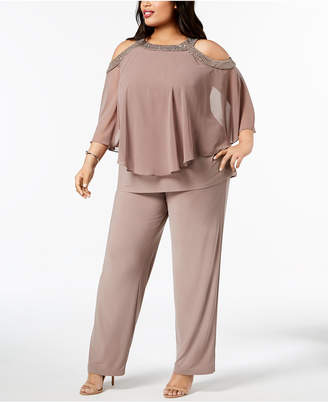 R & M Richards Plus Size Capelet Cold-Shoulder Top & Pants Set