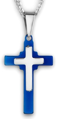 West Coast Jewelry Men's Two Tone Polished Stainless Steel Layered Cross Pendant