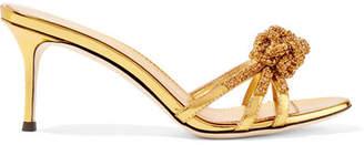 Giuseppe Zanotti Mistico Crystal-embellished Metallic Leather Mules - Gold
