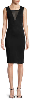 French Connection Mesh Cut-Out Sheath Dress