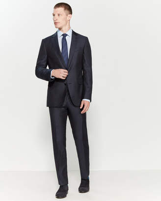 HUGO BOSS Two-Piece Slim Fit Textured Navy Suit