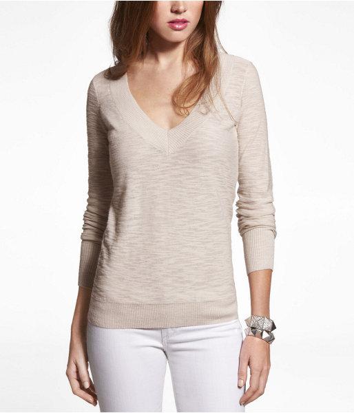 Express Slub V-Neck Sweater