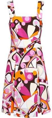 Emilio Pucci Button-detailed Printed Cotton-cloque Dress