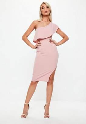 Missguided Blush Pink One Shoulder Frill Split Midi Dress, Blush