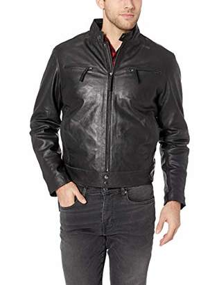 LN LUCIANO NATAZZI Men's Trim Fit Lambskin Leather Vintage Moto Jacket