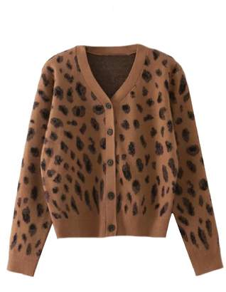 Goodnight Macaroon 'Sage' Leopard Print Button Down Furry Cardigan (2 Colors)