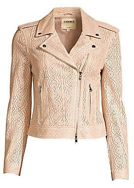 L'Agence Women's The Biker Cutwork Leather Moto Jacket
