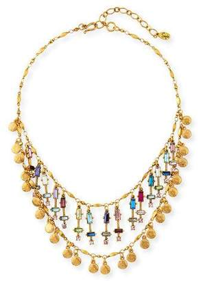 Sequin Beaded Two-Layer Rainbow Necklace
