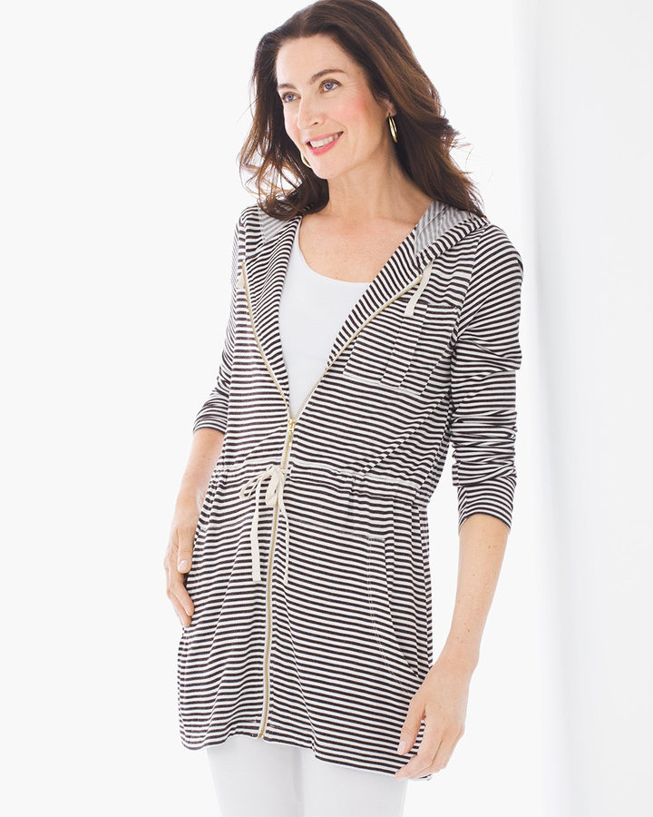 Chico's Nyla Striped Hooded Jacket