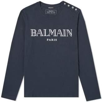 Balmain Long Sleeve Shoulder Button Tee