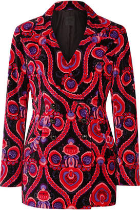 Anna Sui Arabesque Double-breasted Printed Cotton-velvet Blazer - Pink