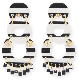Lele Sadoughi Piñata Striped Three-Drop Earrings