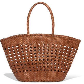 Dragon Optical Diffusion - Cannage Woven Leather Tote - Tan