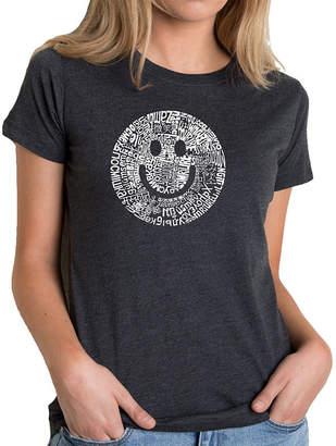 LOS ANGELES POP ART Los Angeles Pop Art Women's Premium Blend Word ArtT-shirt - SMILE IN DIFFERENT LANGUAGES