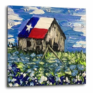 3dRose Image of Painting of old Texas barn with Bluebonnets, Wall Clock, 15 by 15-inch