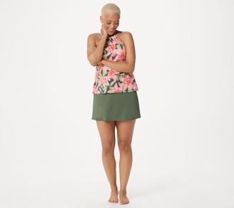 Denim & Co. Beach High Neck Tankini with Skirt