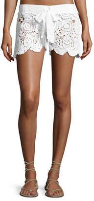 Letarte Crochet Tie-Waist Shorts
