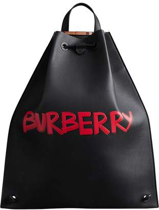 Burberry Graffiti Print Bonded Leather Drawcord Backpack