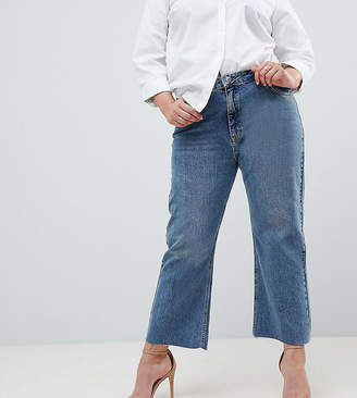Asos Design Curve Egerton Rigid Cropped Flare Jeans In Vintage Mid Wash