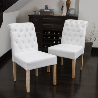Noble House Sofia Tufted White Fabric Roll Top Dining Chairs (Set of 2)