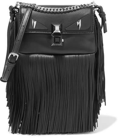 Fendi - Baguette Fringed Leather Shoulder Bag - Black