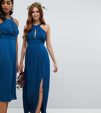 TFNC pleated bridesmaids maxi dress in petrol blue