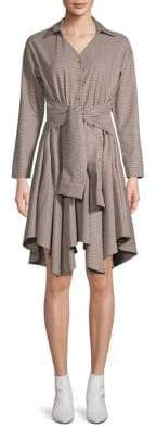 Maje Plaid Asymmetrical Shirtdress