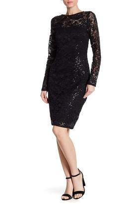 Marina Glitter Accent Sequin Lace Dress