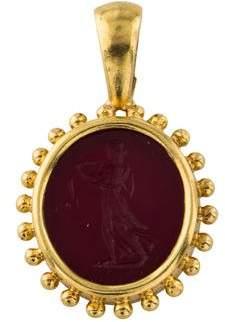 Elizabeth Locke 19K Venetian Glass & Mother of Pearl Intaglio Pendant