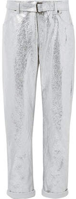 Tom Ford Metallic Cotton And Linen-blend Pants - Silver