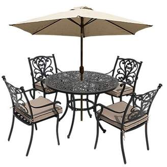LG Electronics Outdoor Devon 4 Seater Garden Dining Table and Chairs Set with Parasol, Bronze